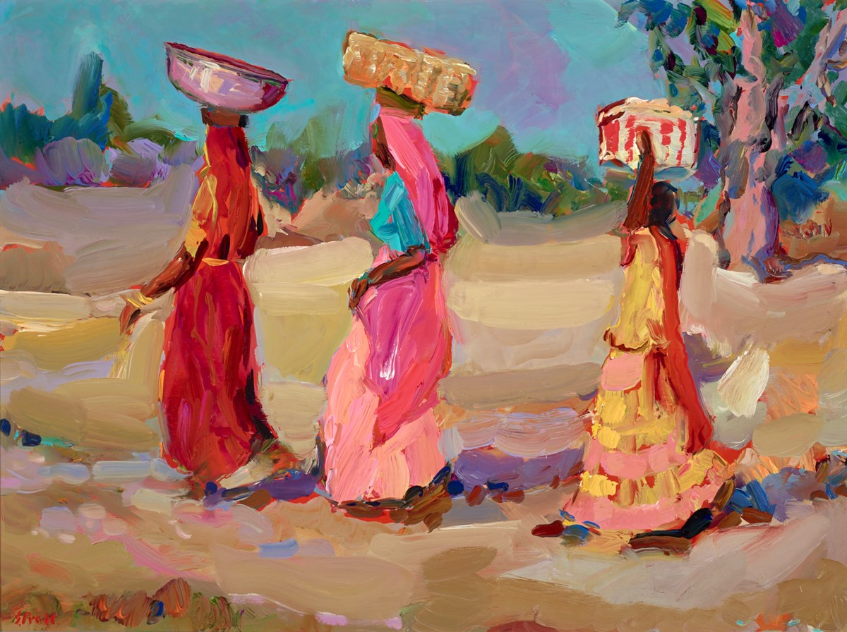 Three Women in Step, Pushkar by jeffrey pratt -  sized 32x24 inches. Available from Whitewall Galleries